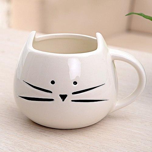 Hrníček - kočičí obličej - bílý 2 - pro milovníky koček