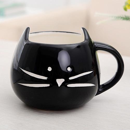 Hrníček - kočičí obličej - černý 3 - pro milovníky koček