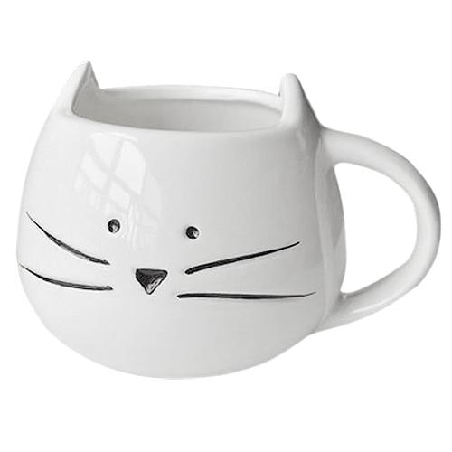 Hrníček - kočičí obličej - bílý 1 - pro milovníky koček