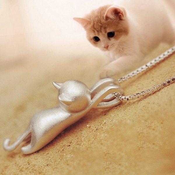 Náhrdelník - visící kočička 3 - pro milovníky koček