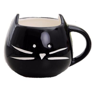 Hrníček - kočičí obličej - černý 1 - pro milovníky koček