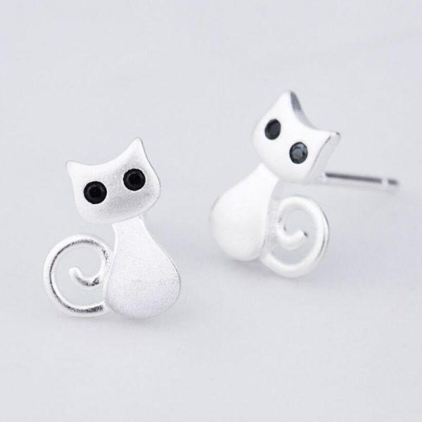 Náušnice - kočička s černými očkami 2 - pro milovníky koček