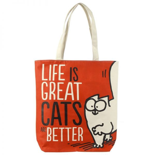 Bavlněná taška Simon's Cat - Life is Great Cats are Better 1 - pro milovníky koček
