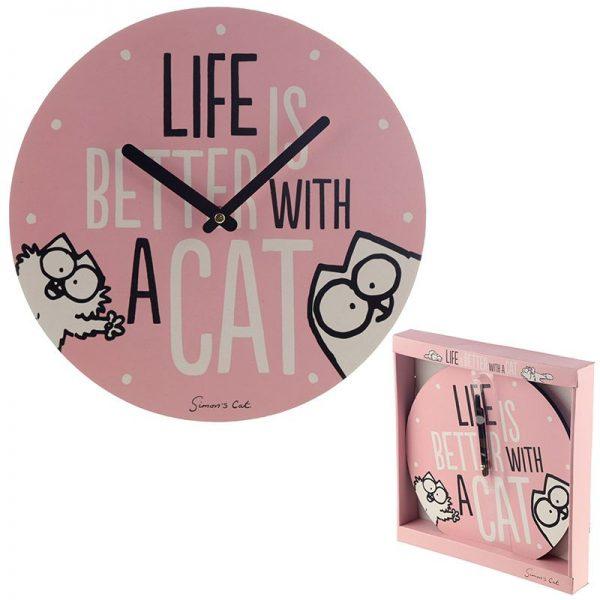 Nástěnné hodiny Simon's Cat, Life Is Better With a Cat slogan 1 - pro milovníky koček