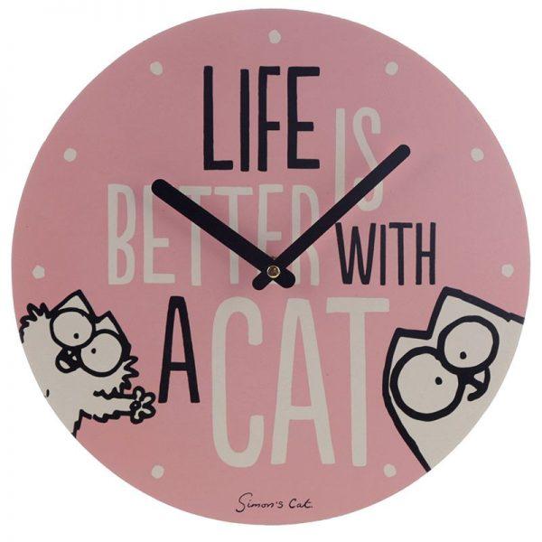 Nástěnné hodiny Simon's Cat, Life Is Better With a Cat slogan 2 - pro milovníky koček