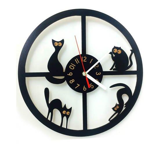 Kočičí hodiny nástěnné - kruh 1 - pro milovníky koček
