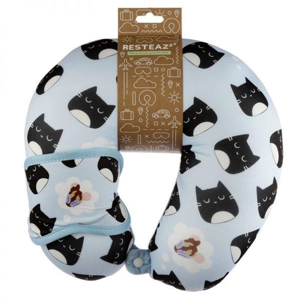 Cestovní polštářek & maska na oči Feline Fine Kočka 1 - pro milovníky koček