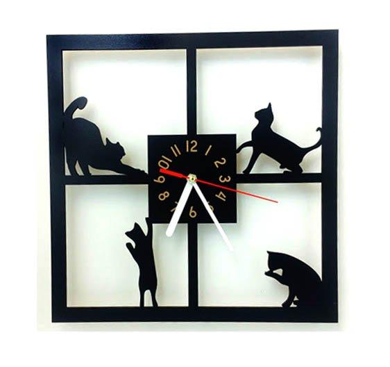 Kočičí hodiny nástěnné - čtverec 1 - pro milovníky koček