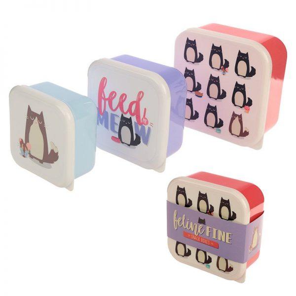 Dárkové předměty s kočkama - Sada 3 krabiček na jídlo Feline Fine Kočka