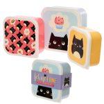 Dárkové předměty s kočkama - Sada 3 krabiček na jídlo M/L/XL - Feline Fine Kočka