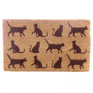 Dárkové předměty s kočkama - Velká rohožka z kokosového vlákna Kočičí siluety
