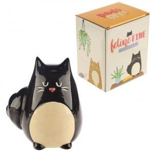 Dárkové předměty s kočkama - Pokladnička Černá kočka Feline Fine
