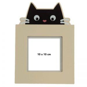 Dárkové předměty s kočkama - Dřevěný fotorámeček Feline Fine Černá kočka