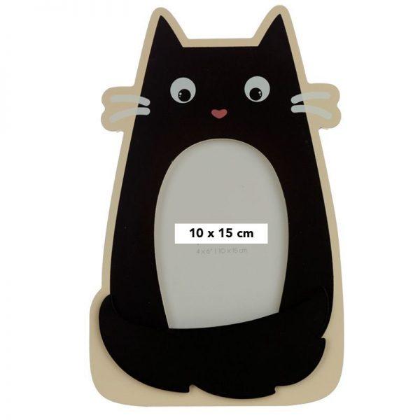 Dárkové předměty s kočkama - Dřevěný fotorámeček tvarovaný Feline Fine Černá kočka