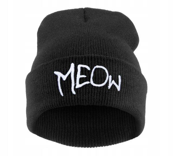 Zimní čepice s nápisem Meow 1 - pro milovníky koček