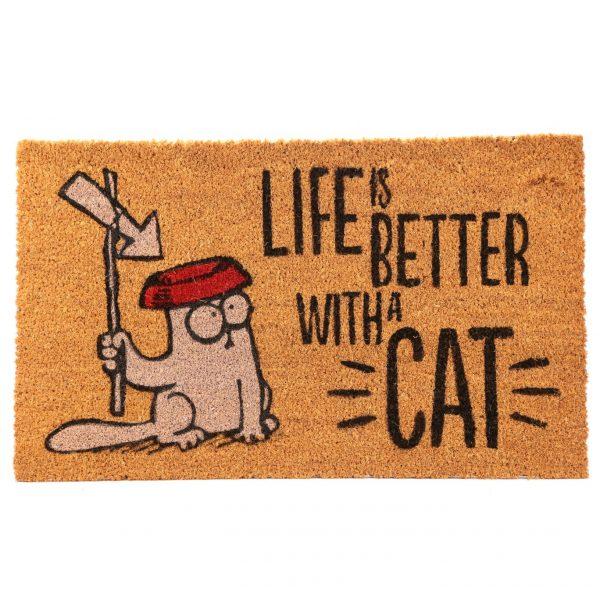 Rohožka z kokosového vlákna s kočičím motivem - Simon's Cat - Life Is Better With A Cat 1 - pro milovníky koček