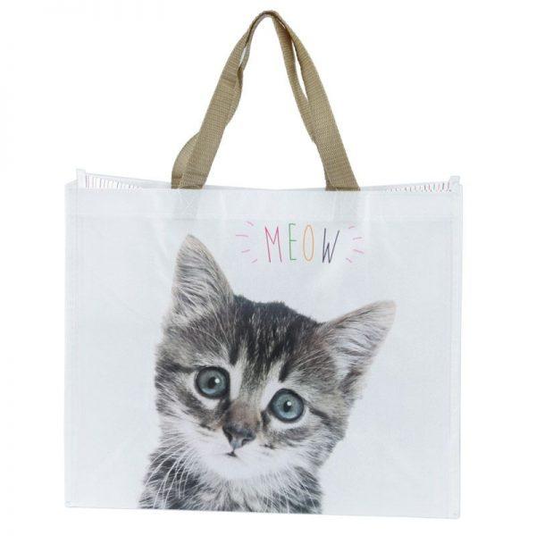 Nákupní taška s kotětem a nápisem MEOW 1 - pro milovníky koček