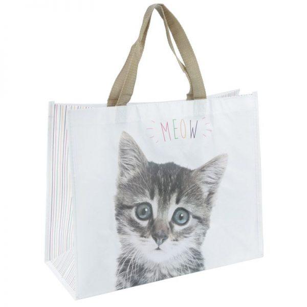 Nákupní taška s kotětem a nápisem MEOW 3 - pro milovníky koček