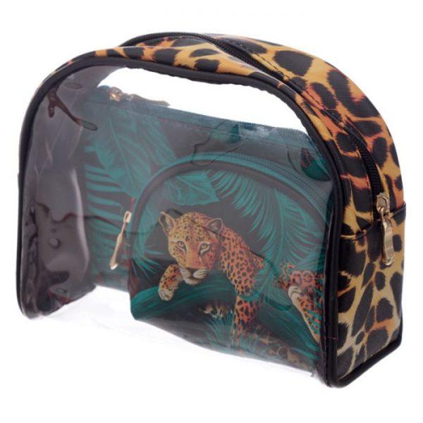 Velká kočička s pruhy Sada 3dílných toaletních tašek 1 - pro milovníky koček