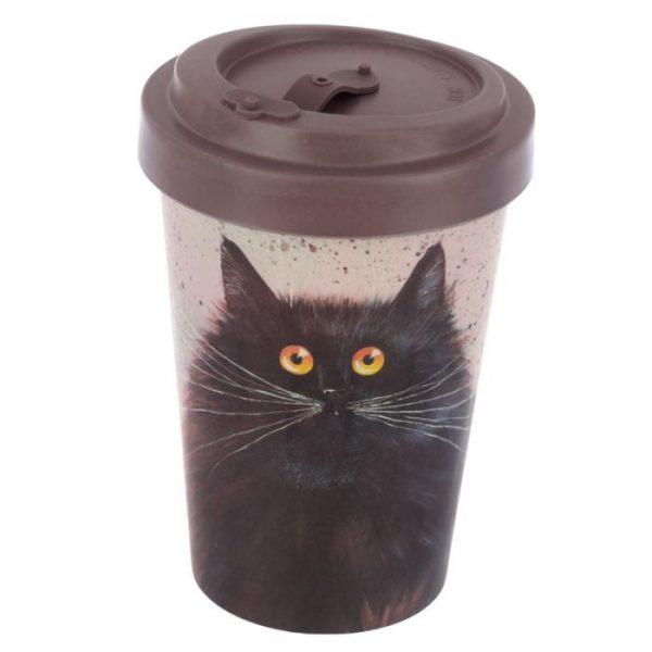 Cestovní termohrnek z bambusového kompozitu Kim Haskins - Kočka 1 - pro milovníky koček