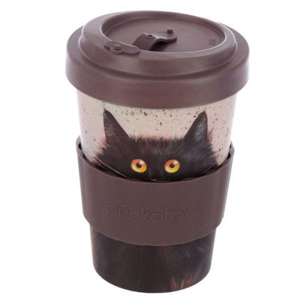 Cestovní termohrnek z bambusového kompozitu Kim Haskins - Kočka 5 - pro milovníky koček
