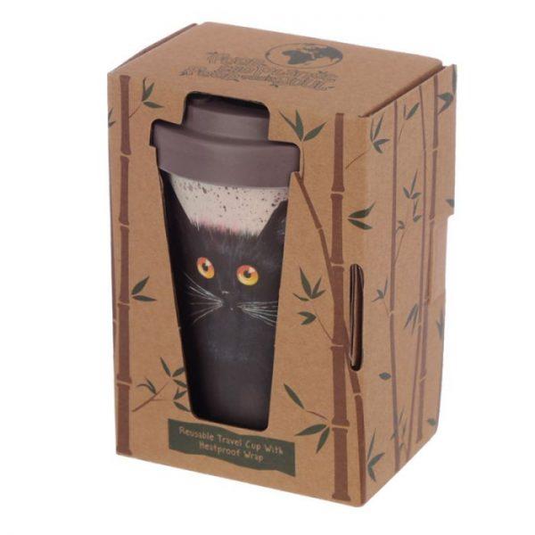 Cestovní termohrnek z bambusového kompozitu Kim Haskins - Kočka 4 - pro milovníky koček