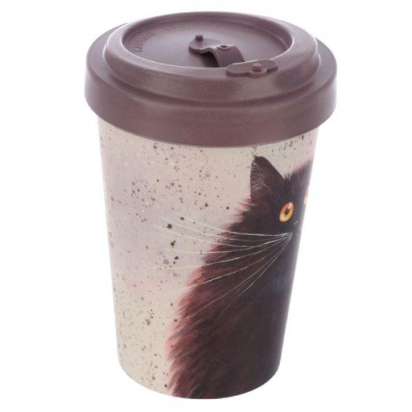 Cestovní termohrnek z bambusového kompozitu Kim Haskins - Kočka 3 - pro milovníky koček
