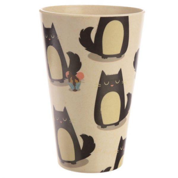 Bambusový Feline Fine znovupoužitelný termohrnek s kočkou 1 - pro milovníky koček