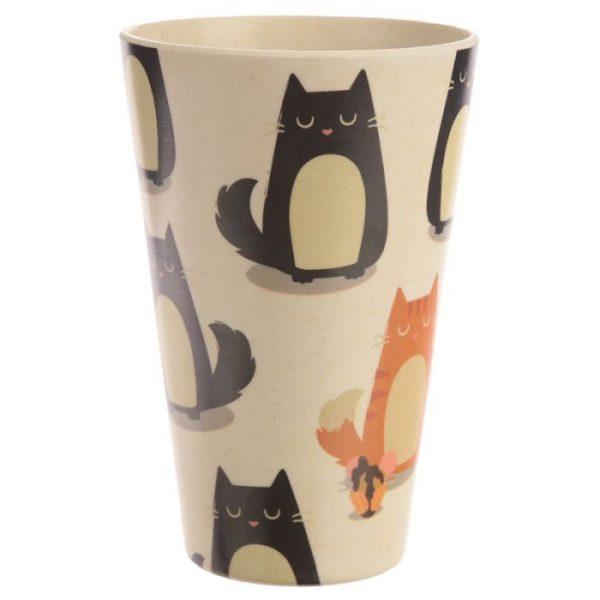 Bambusový Feline Fine znovupoužitelný termohrnek s kočkou 2 - pro milovníky koček