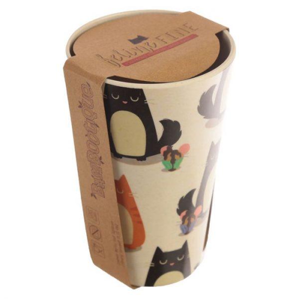 Bambusový Feline Fine znovupoužitelný termohrnek s kočkou 3 - pro milovníky koček