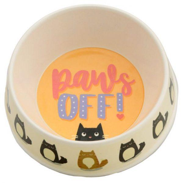 Bambusová Paws Off Kočka Feline Fine miska na jídlo pro kočky 1 - pro milovníky koček