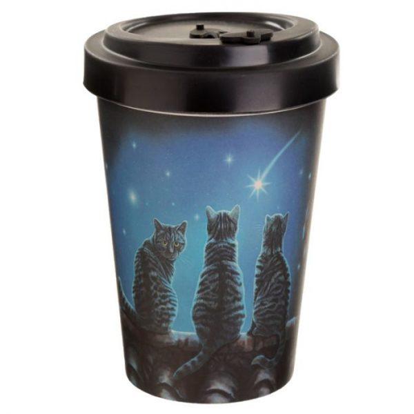 Lisa Parker Wish Upon a Star Cat Cestovní termohrnek z bambusového kompozitu 1 - pro milovníky koček