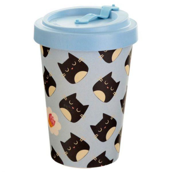 Kočičí Feline Fine Cat opakovaně použitelný bambusový cestovní hrnek 2 - pro milovníky koček