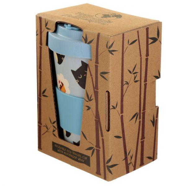 Kočičí Feline Fine Cat opakovaně použitelný bambusový cestovní hrnek 4 - pro milovníky koček