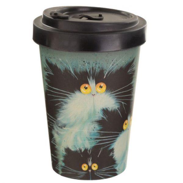 Kim Haskins Cat Print Cestovní termohrnek z bambusového kompozitu 1 - pro milovníky koček
