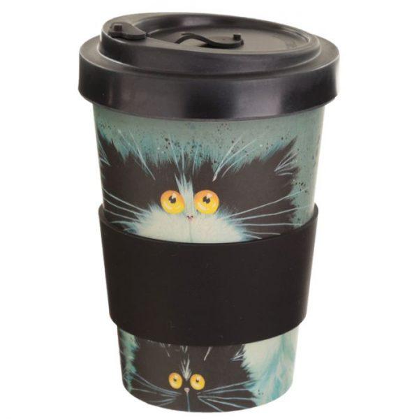 Kim Haskins Cat Print Cestovní termohrnek z bambusového kompozitu 2 - pro milovníky koček