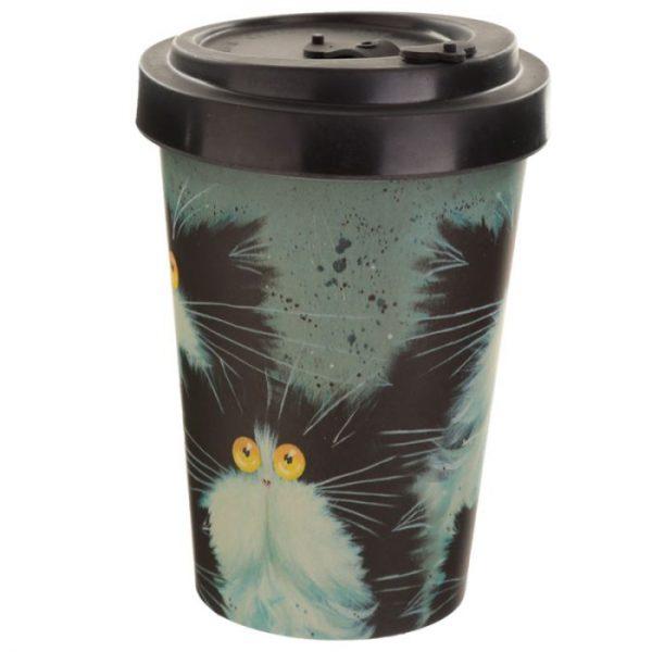 Kim Haskins Cat Print Cestovní termohrnek z bambusového kompozitu 5 - pro milovníky koček
