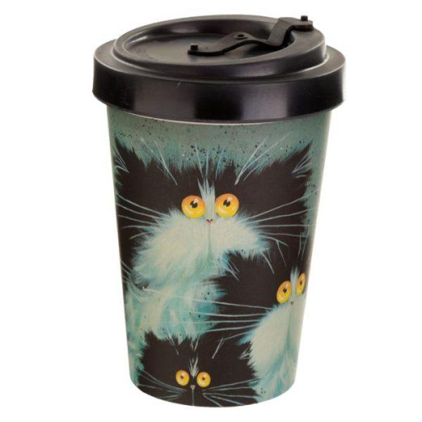 Kim Haskins Cat Print Cestovní termohrnek z bambusového kompozitu 3 - pro milovníky koček