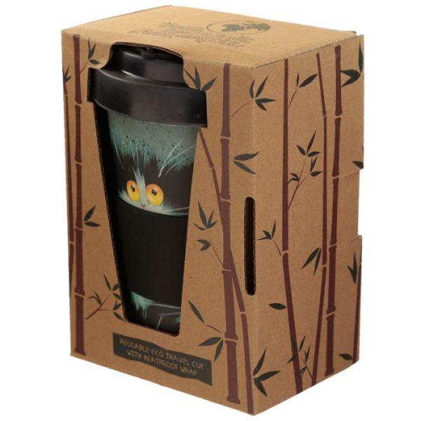 Kim Haskins Cat Print Cestovní termohrnek z bambusového kompozitu 6 - pro milovníky koček