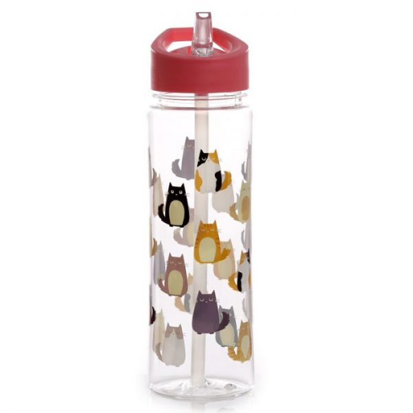 Opakovaně použitelná 550ml plastová láhev s slámkou - Kočka Feline Fine 5 - pro milovníky koček
