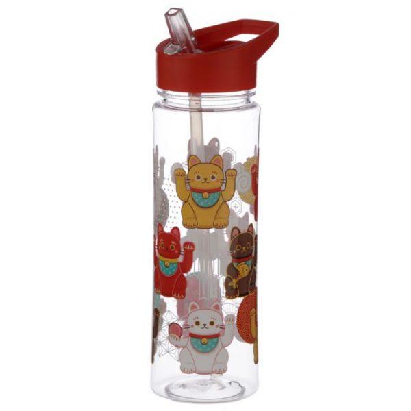 Opakovaně použitelná 550ml plastová láhev s slámou - Maneki Neko - kočka štěstí 1 - pro milovníky koček