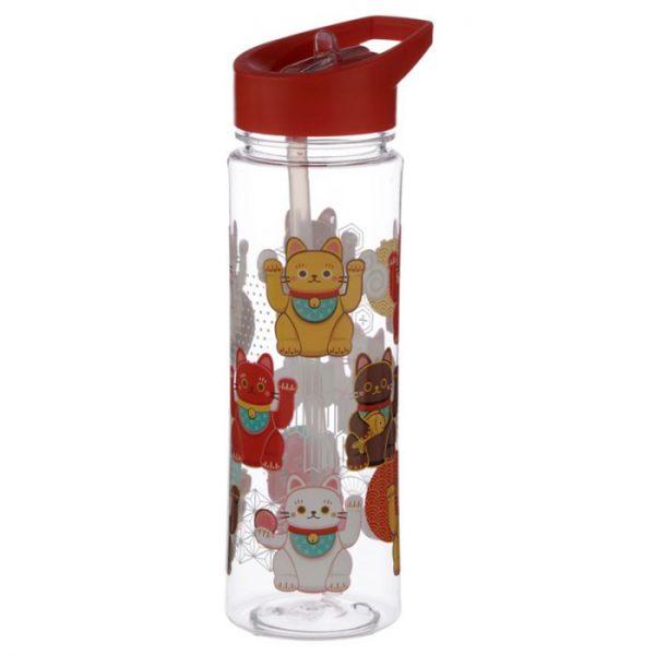 Opakovaně použitelná 550ml plastová láhev s slámou - Maneki Neko - kočka štěstí 2 - pro milovníky koček