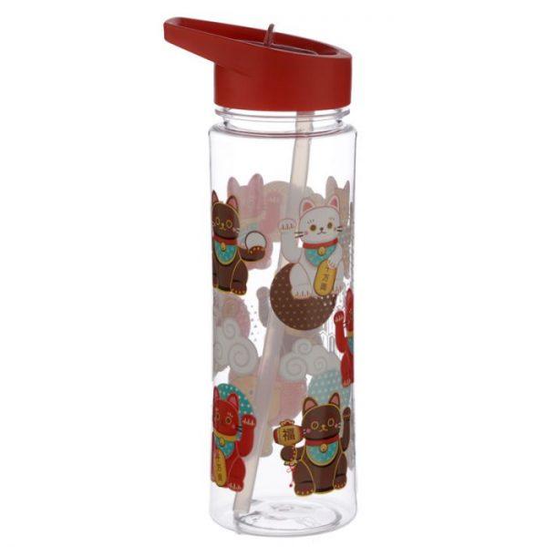 Opakovaně použitelná 550ml plastová láhev s slámou - Maneki Neko - kočka štěstí 4 - pro milovníky koček