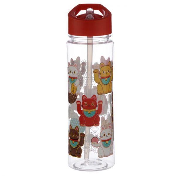 Opakovaně použitelná 550ml plastová láhev s slámou - Maneki Neko - kočka štěstí 3 - pro milovníky koček