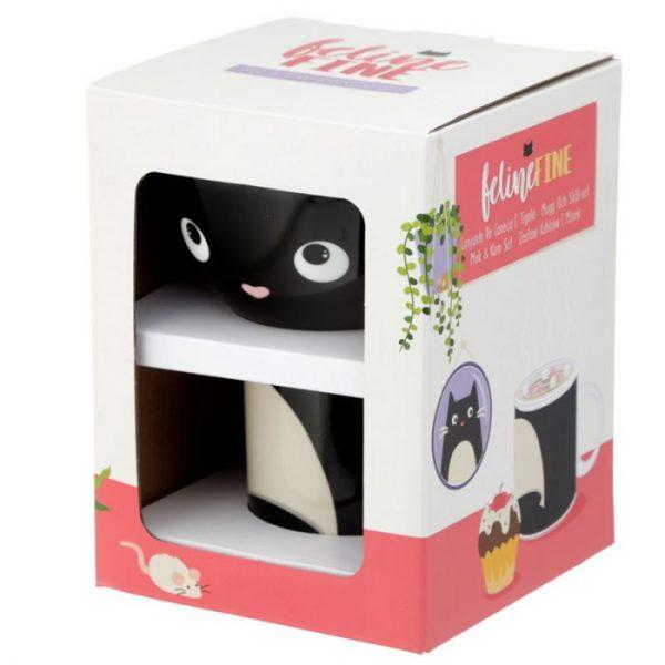 Feline Fine Porcelánový hrníček a miska - set pro děti 4 - pro milovníky koček