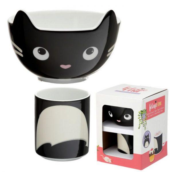 Feline Fine Porcelánový hrníček a miska - set pro děti 3 - pro milovníky koček