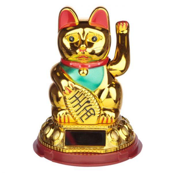 Mávající kočička pro štěstí Maneki Neko na solární nabíjení - zlatá 1 - pro milovníky koček