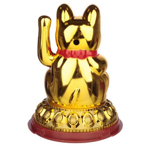 Mávající kočička pro štěstí Maneki Neko na solární nabíjení - zlatá 5 - pro milovníky koček