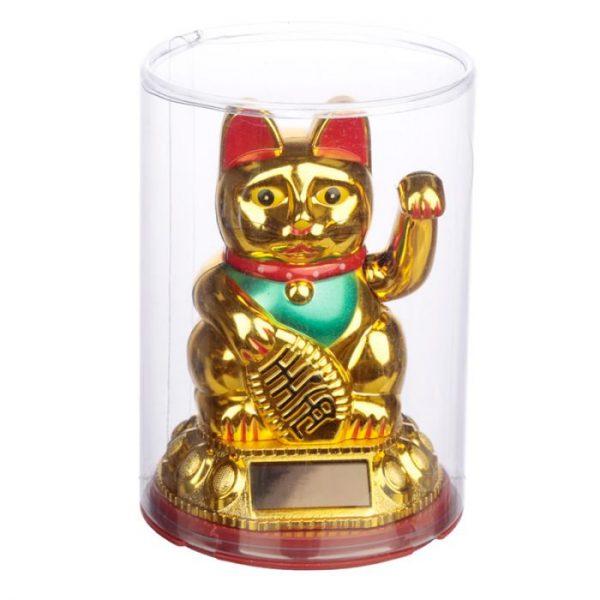 Mávající kočička pro štěstí Maneki Neko na solární nabíjení - zlatá 2 - pro milovníky koček