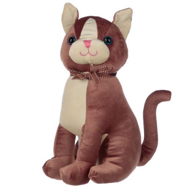 Hnědá kočka se stuhou Zarážka do dvěří 1 - pro milovníky koček